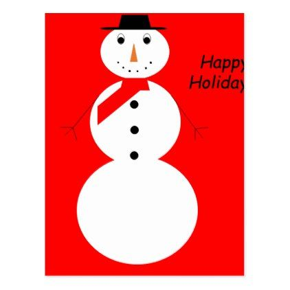 Snowman With Red Background Happy Holidays! Postcard - christmas