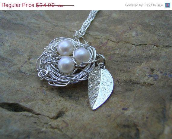 Sale birds nest pendant necklace silver leaf by kottagekreations sale birds nest pendant necklace silver leaf by kottagekreations 2160 aloadofball Choice Image
