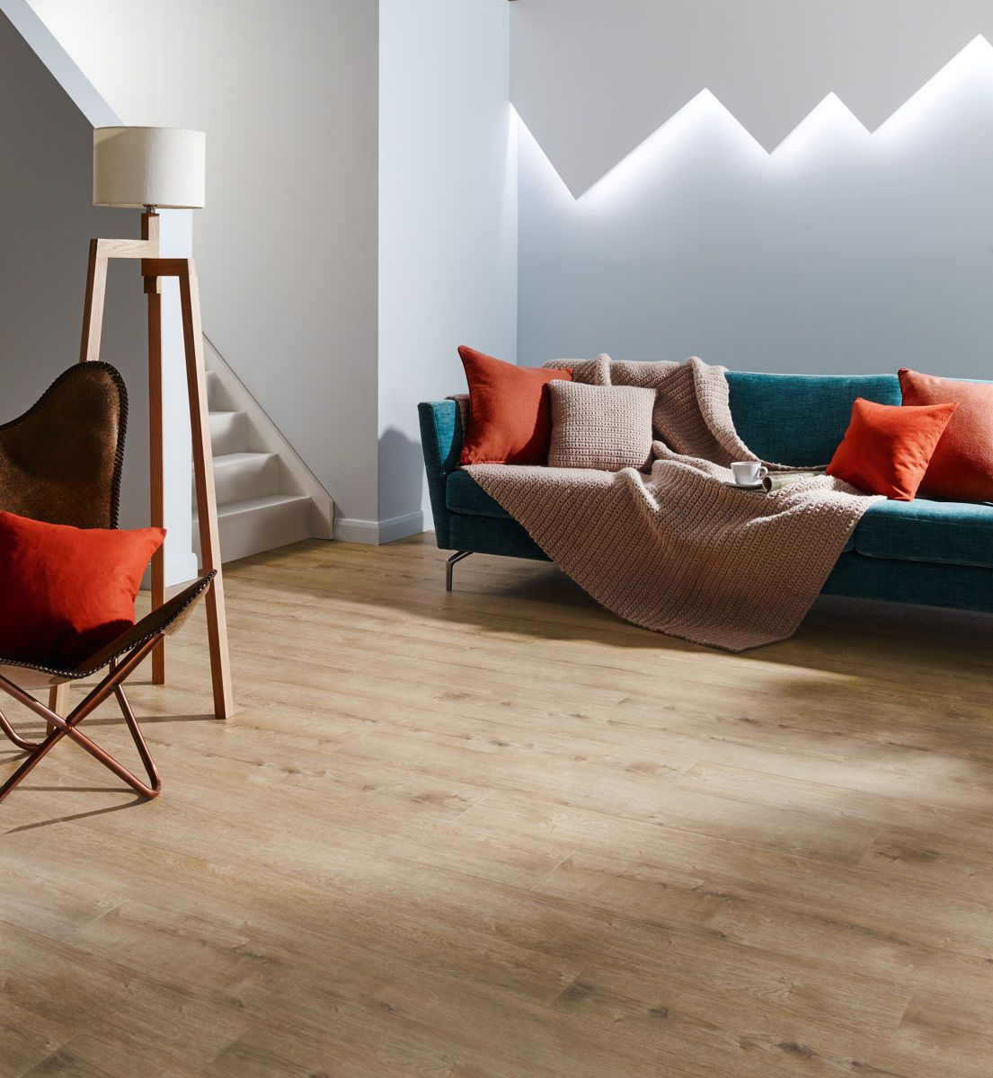 The classic bright hues of Cashmere Oak create a warm and