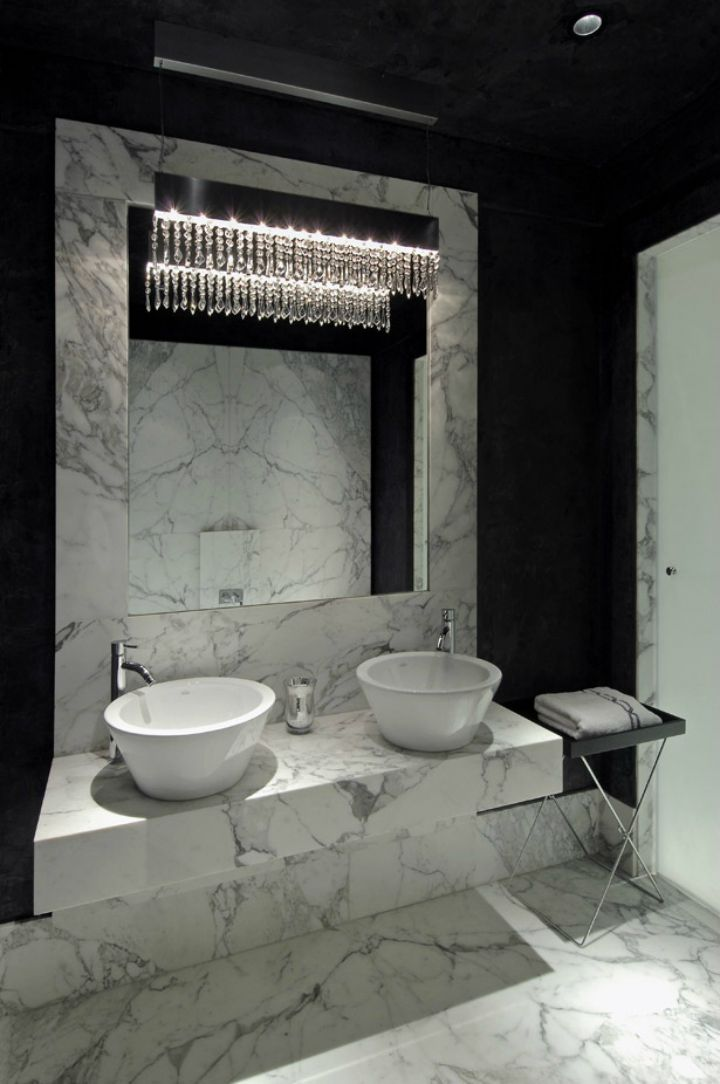 Black And White Bathroom Michael Habachy Interior Design Photo