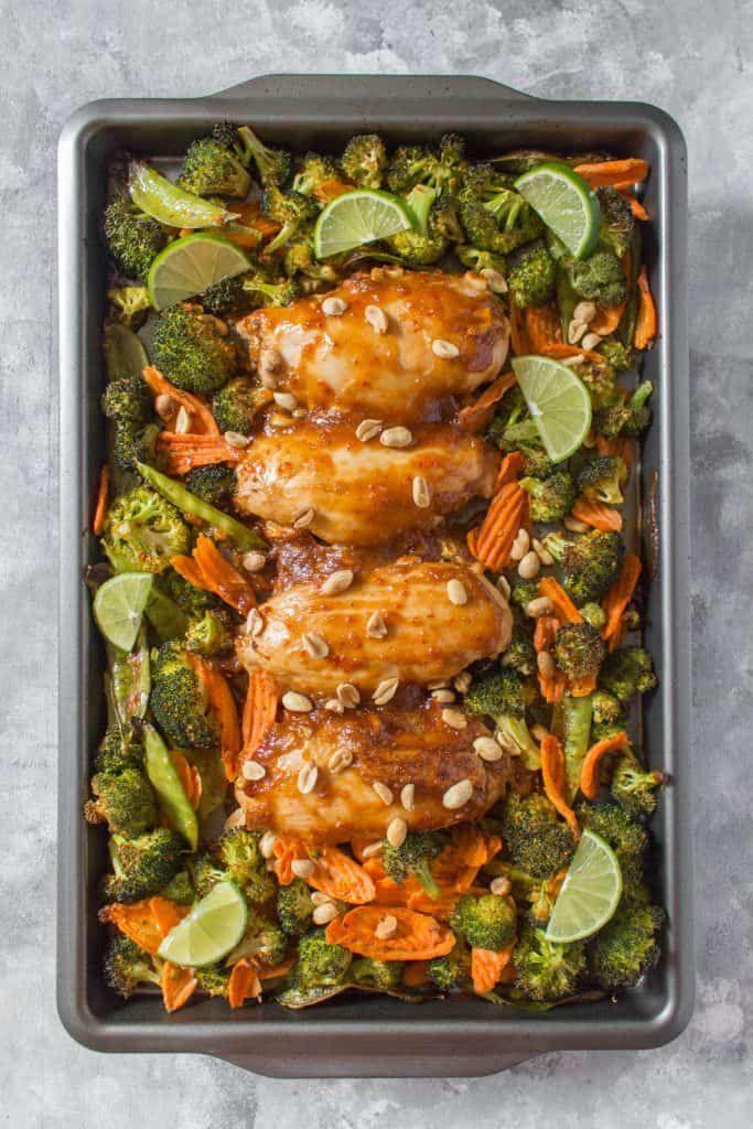 Sheet Pan Thai Peanut Chicken Meal Prep images