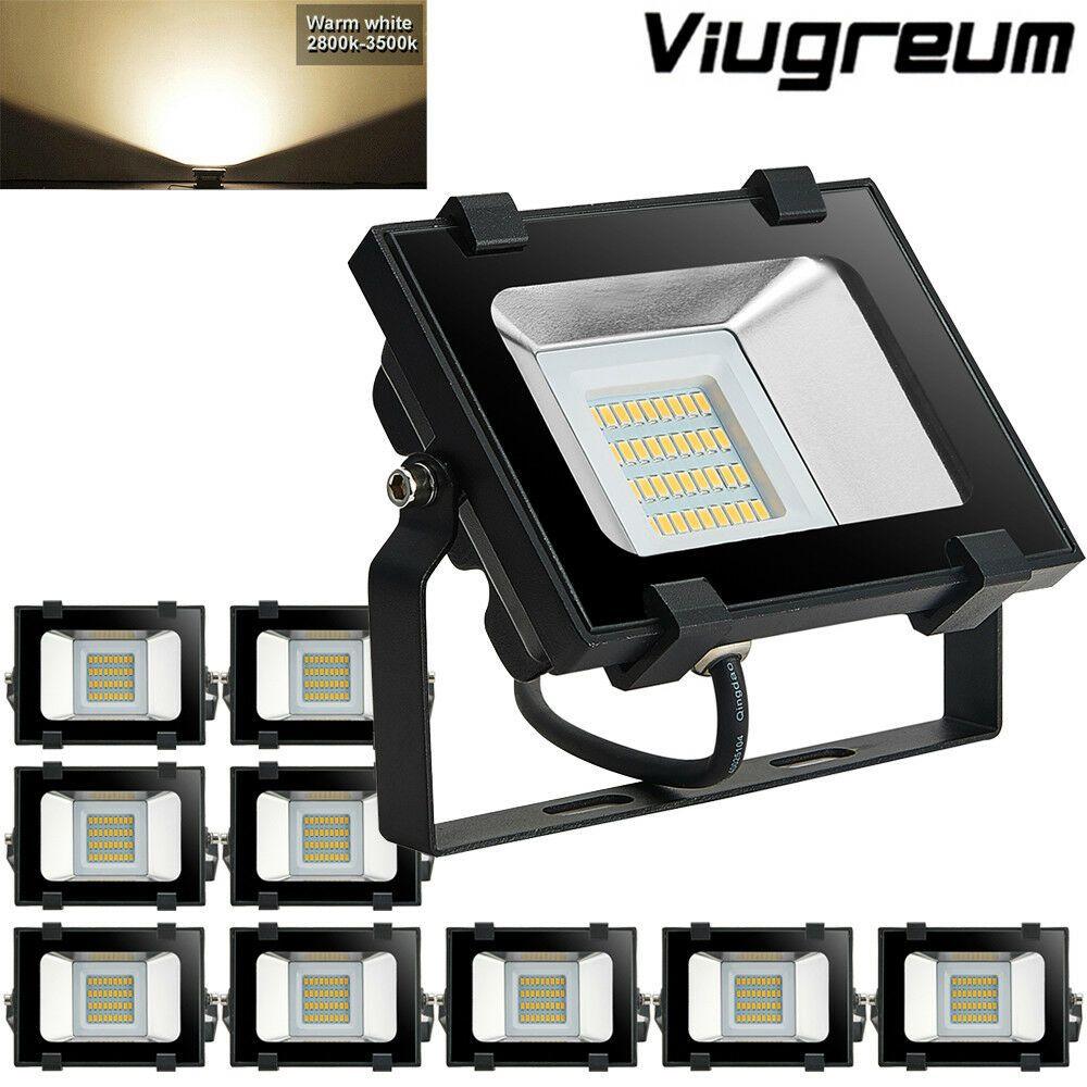 10x 20W LED Flood Light Warm White VIUGREUM Outdoor