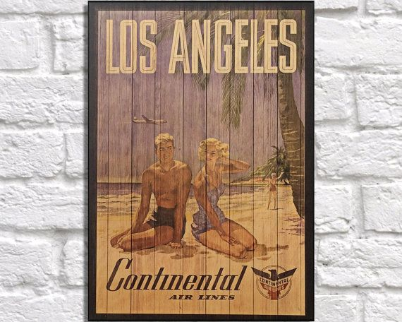 Los Angeles Gift for Him Travel Print Wood wall art Husband gift