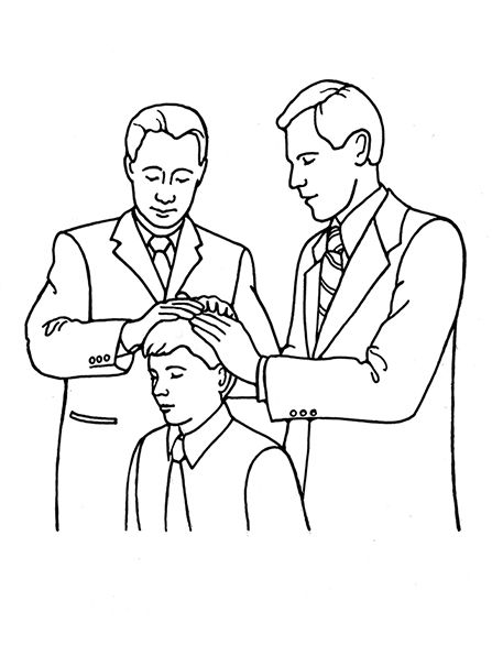 An illustration of a young man receiving the Melchizedek ...