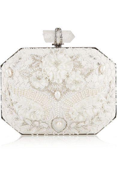 Marchesa - Iris embellished leather box clutch