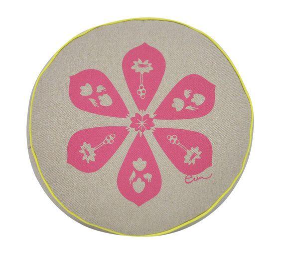 Pink Round Silk Screened Blossom Cushion w/ yellow by erinflett, $75.00