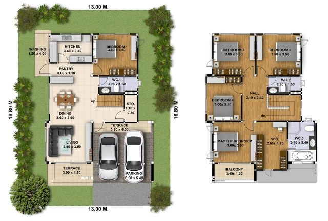 Best House Design 3D 13X16 With 5 Bedrooms In 2020 House 400 x 300