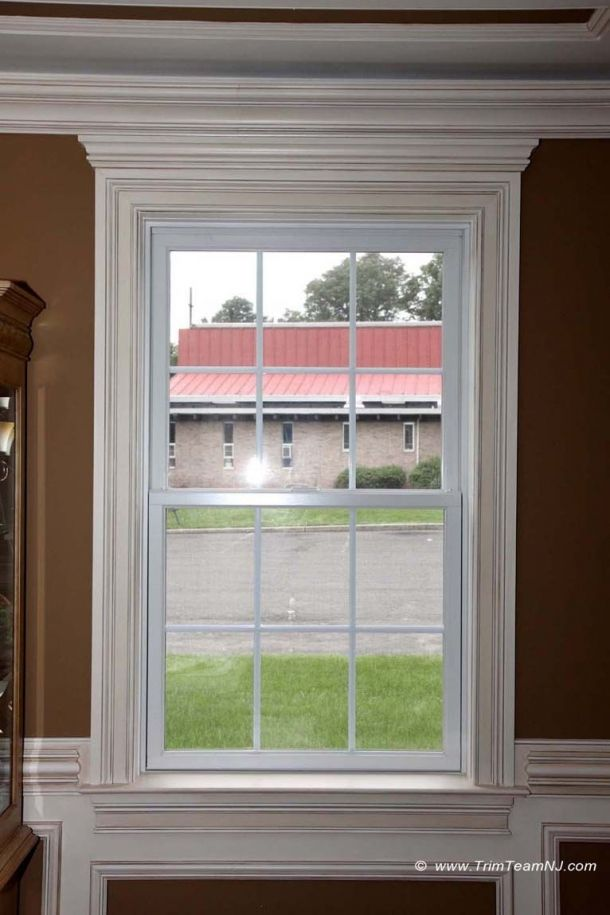 moldings around window casing with solid crown on the top sill and - Exterior Window Moulding Designs