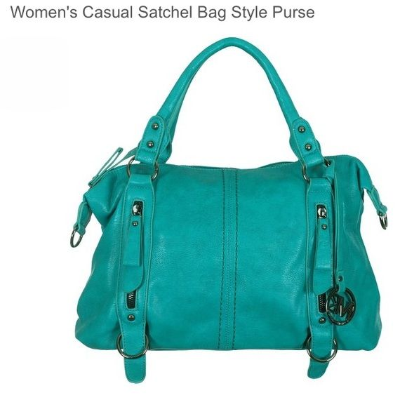 """Stylish satchel bag style purse in teal color This stylish satchel bag style purse features a beautiful teal color with decorative stitching and zipper accents. Other features include sturdy, rounded padded handles for carrying comfort. 1 quick access exterior compartment with a zipper closure. Opening the zipper-top reveals 2 large main compartments separated by a zipper-top pouch, 1 side compartment with a zipper closure and cell phone and key pockets. Approx.Dimensions: 16""""W x 10""""H x 9""""D…"""