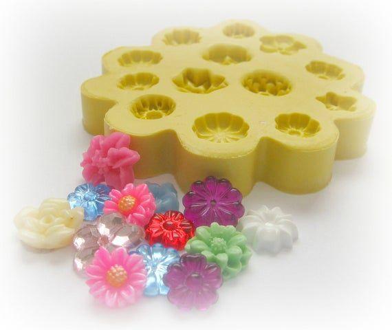 Flexible Blumenform Daisy Tiny Flowers DIY Ohrringe Design Schimmel Polymer Clay Resin Button Magnet Schimmel