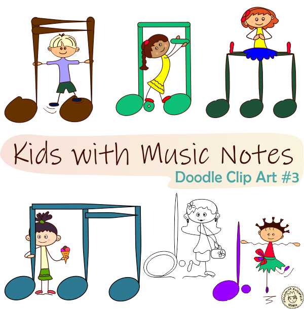 This Cute Music Clipart Bundle Can Be Used To Create Fun Music Games That Will Teach Your Students The Different Notes And Sym Note Doodles Music Notes Doodles