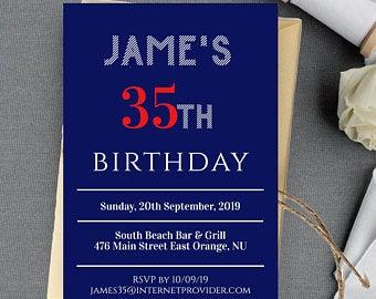 35th birthday invite printable template