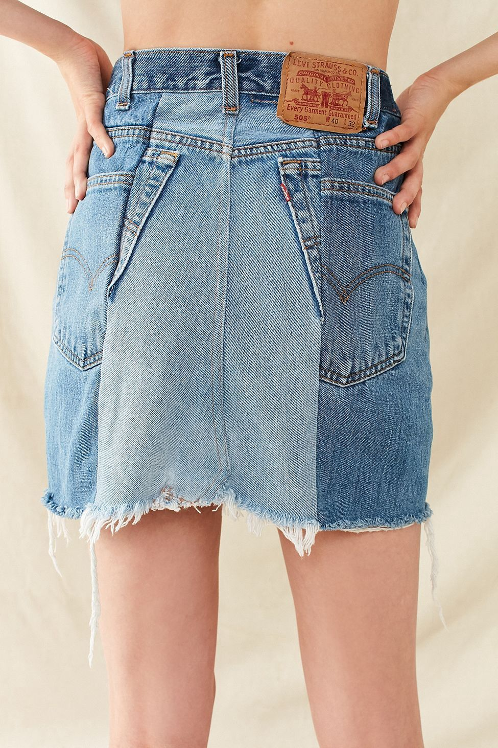 f33970432f Urban Outfitters Renewal Recycled Levi'S Two-Tone Patched Denim Mini Skirt  - Indigo