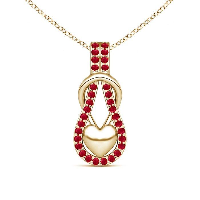 Angara Emerald Love Knot Heart Pendant in Platinum p5iVm