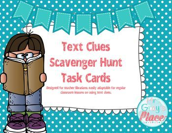 This pack includes 28 scavenger hunt cards and a printable answer sheet allowing students to record up to twelve answers. I designed this set with the library in mind, since that is where I work. You can easily use this in your classroom.