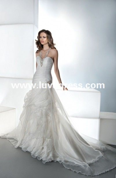 a line sweetheart neckline ruched halter top beach mermaid wedding dress made in china