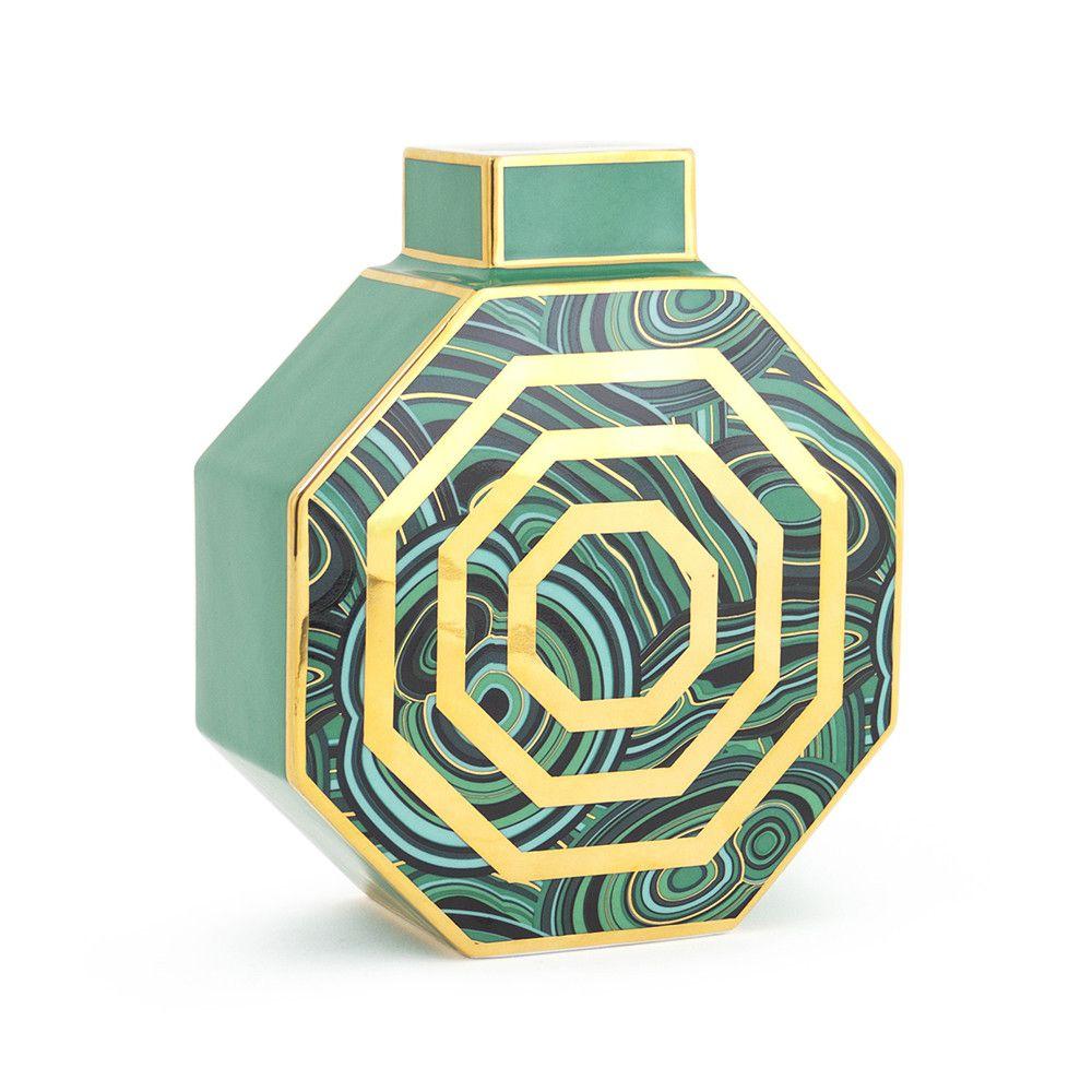 Achteckige Malachit Vase Grüngold Malachite Meets Gold Decor