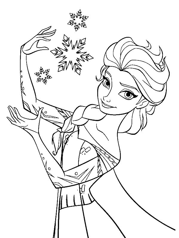 Elsa The Snow Queen Making Snowflakes Coloring Page By