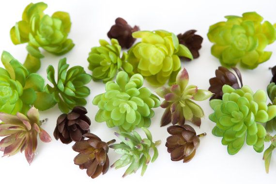 Fake succulents for cake topper