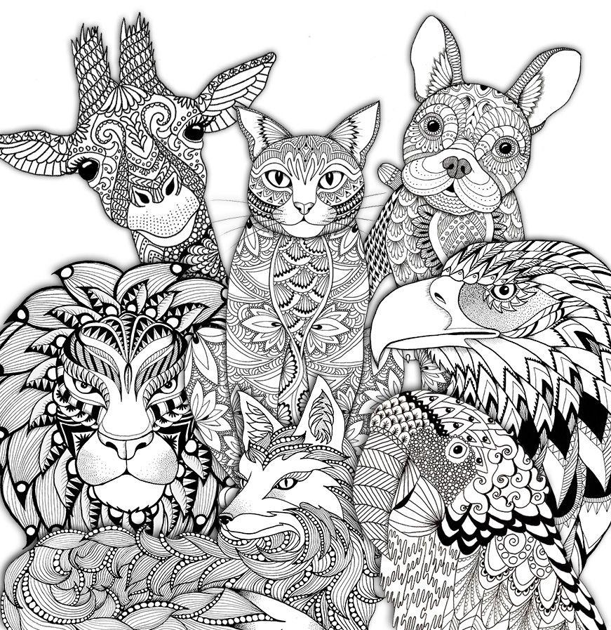 Zendoodle zoo colouring page on Behance   mandalas   Pinterest ...