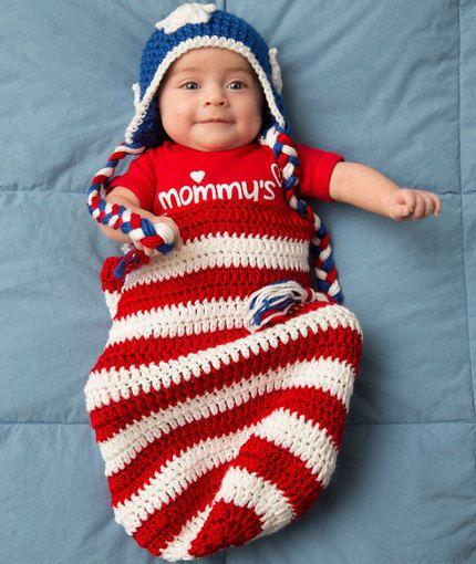 Patriotic Baby Cocoon & Hat Crochet | Baby Stuff | Pinterest | Para ...