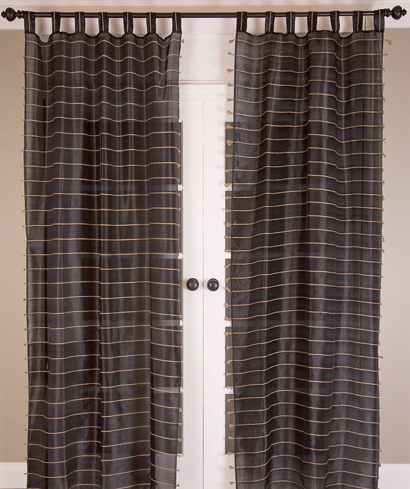 Room With A View P111 Sheer Tab Top Curtain Panel Set 44 Inch By 84