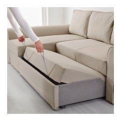 BACKABRO Divano letto con chaise-longue, Tygelsjö beige | Beige ...