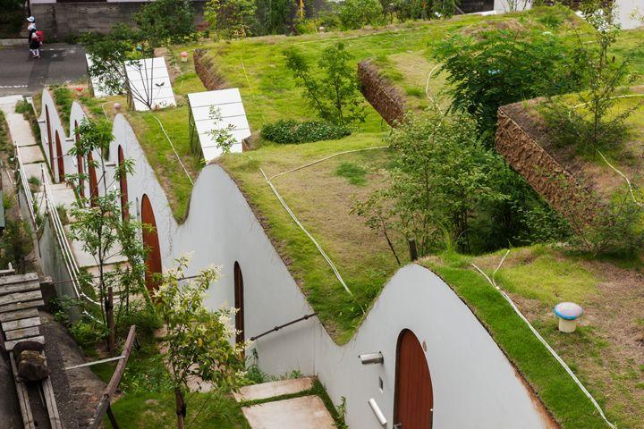 Wonen als een rijstveld, in terrasvorm.