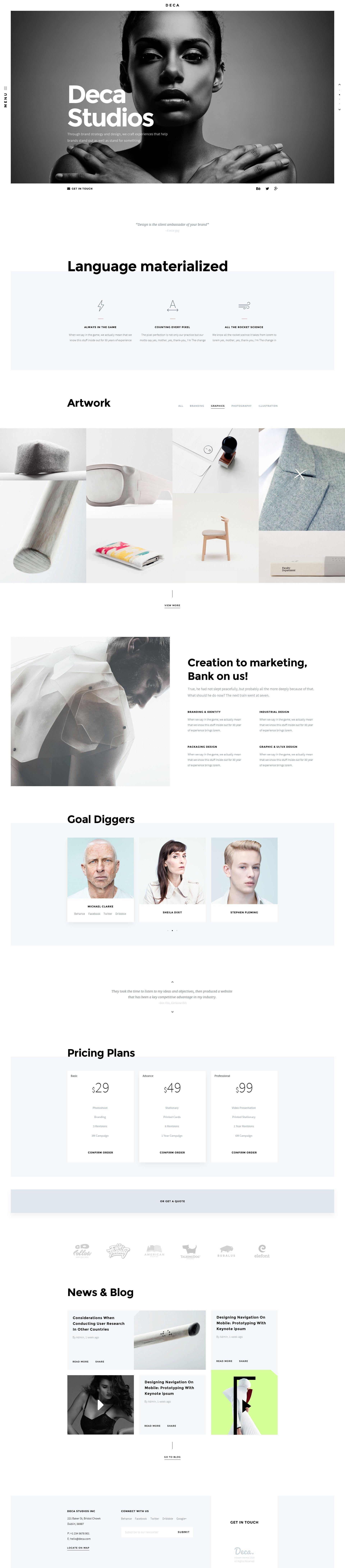 DECA - Creative Multi Concept Portfolio Template | Psd templates ...