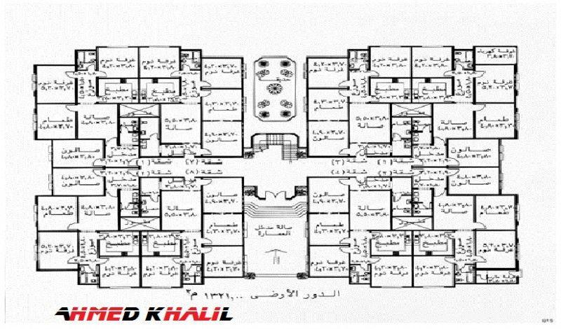 مخطط عماره ٨ شقق دور الأول Floor Plans Diagram