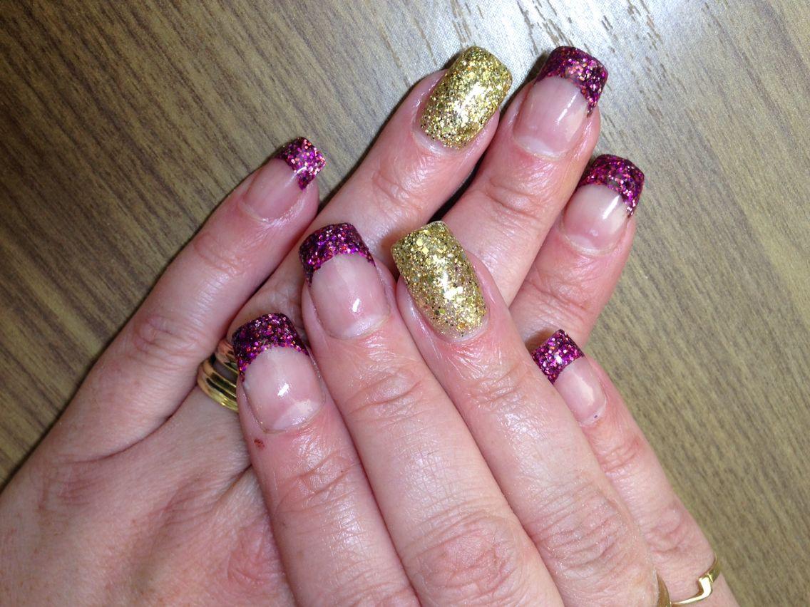 Glitter acryl paars en goud.