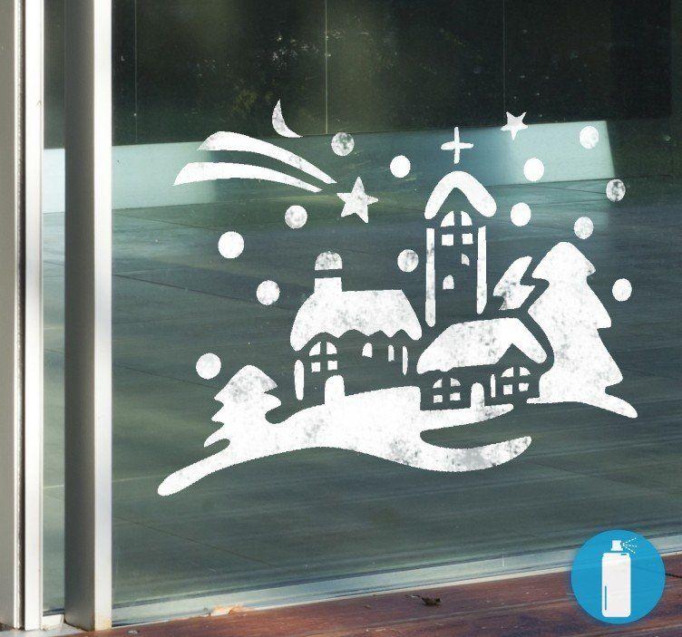 Plantillas de vinilo decoración navidad pueblo adornos finestres