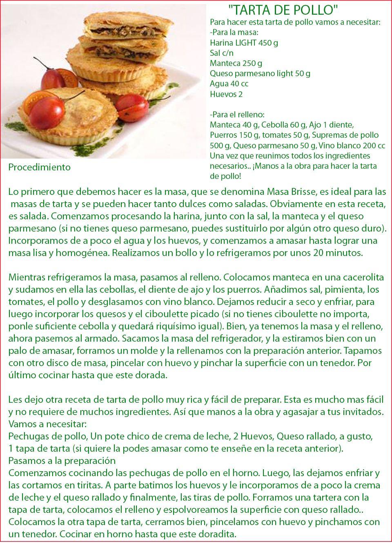 Exquisita receta Torta de Pollo, muy fácil de preparar, utilícela en la Dieta HCG.
