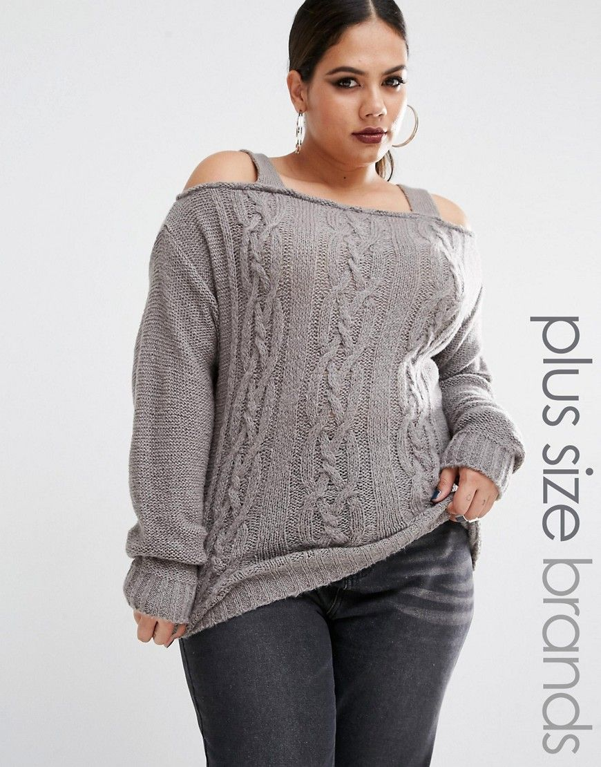 f39613adba Boohoo+Plus+Cold+Shoulder+Knitted+Jumper