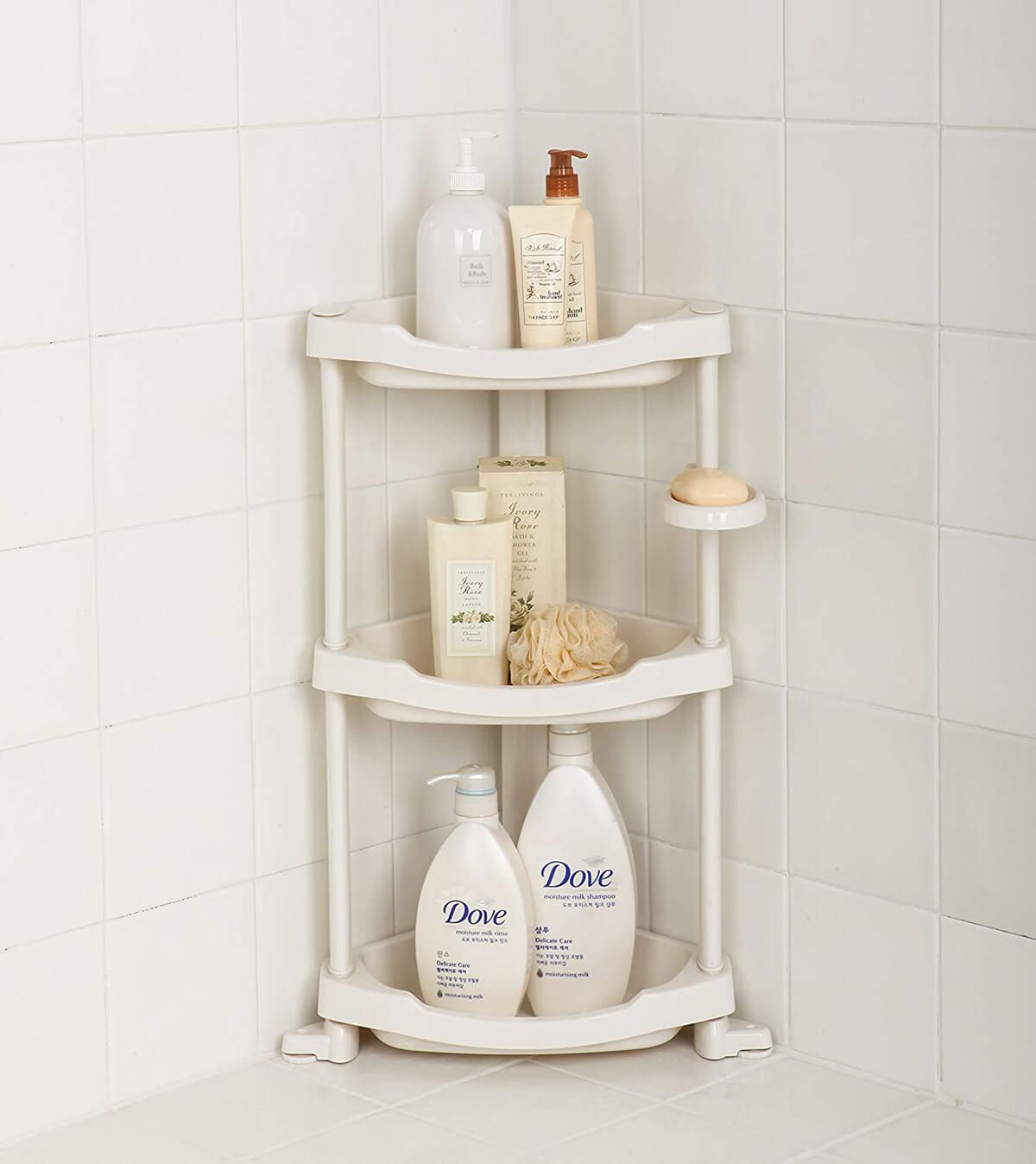 10 Small Bathroom Storage Ideas That Ll Improve Your Space Corner Shower Caddy Shower Organization Shower Shelves [ 1348 x 1200 Pixel ]