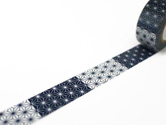 Asanoha Washi Tape in Navy & White / / Maste Star by UnwrapColour