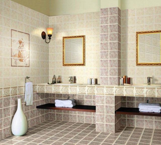 Badezimmer Keramik Fliesen Matte Oberfläche Mediterran Warm Ideen