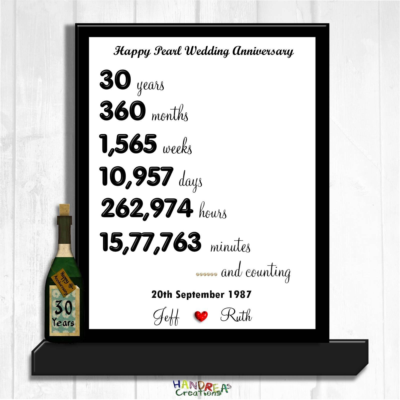 Personalised 30th Wedding Anniversary Sign Digital Download Custom
