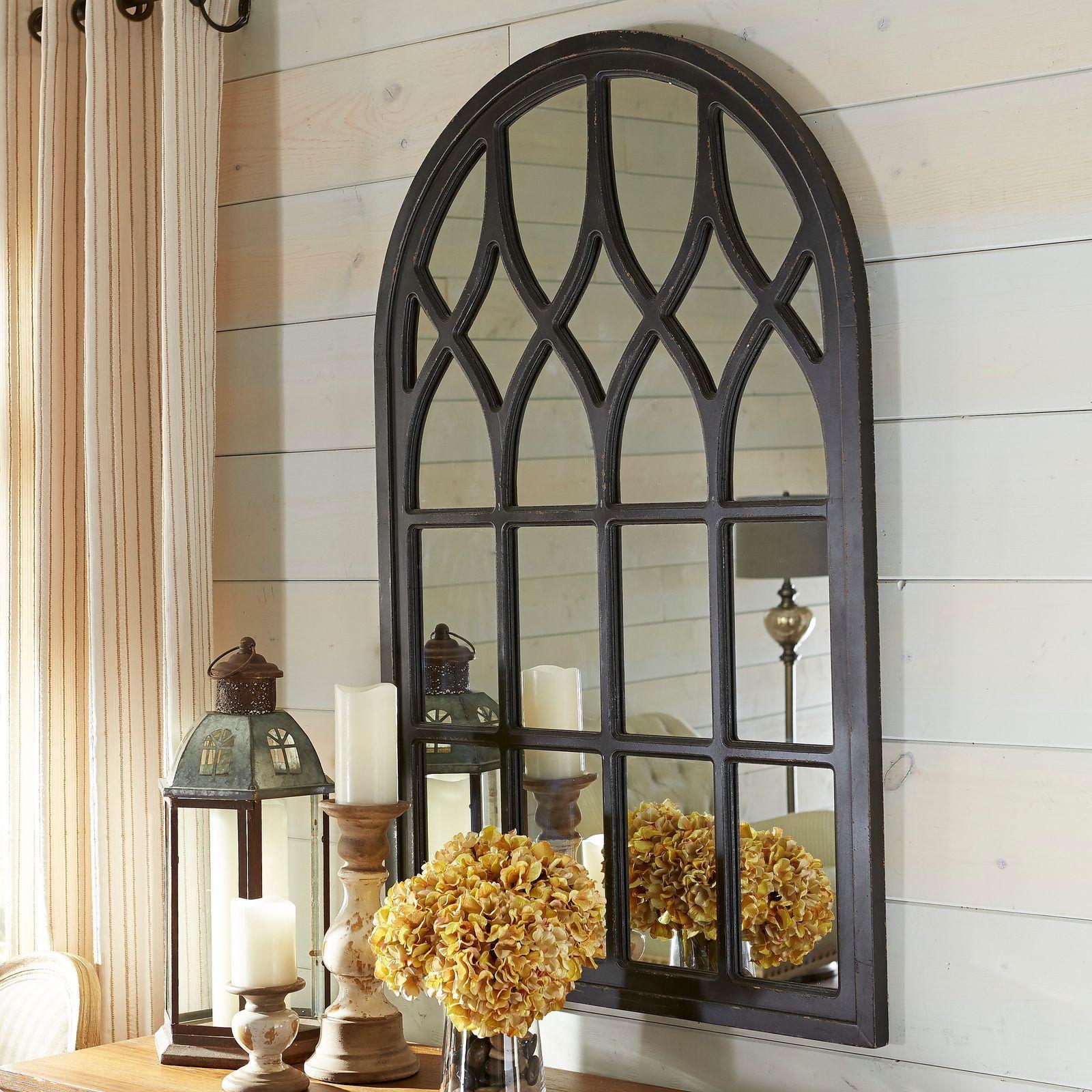 Window mirror decor  black washed window mirror  our modern farmhouse  pinterest