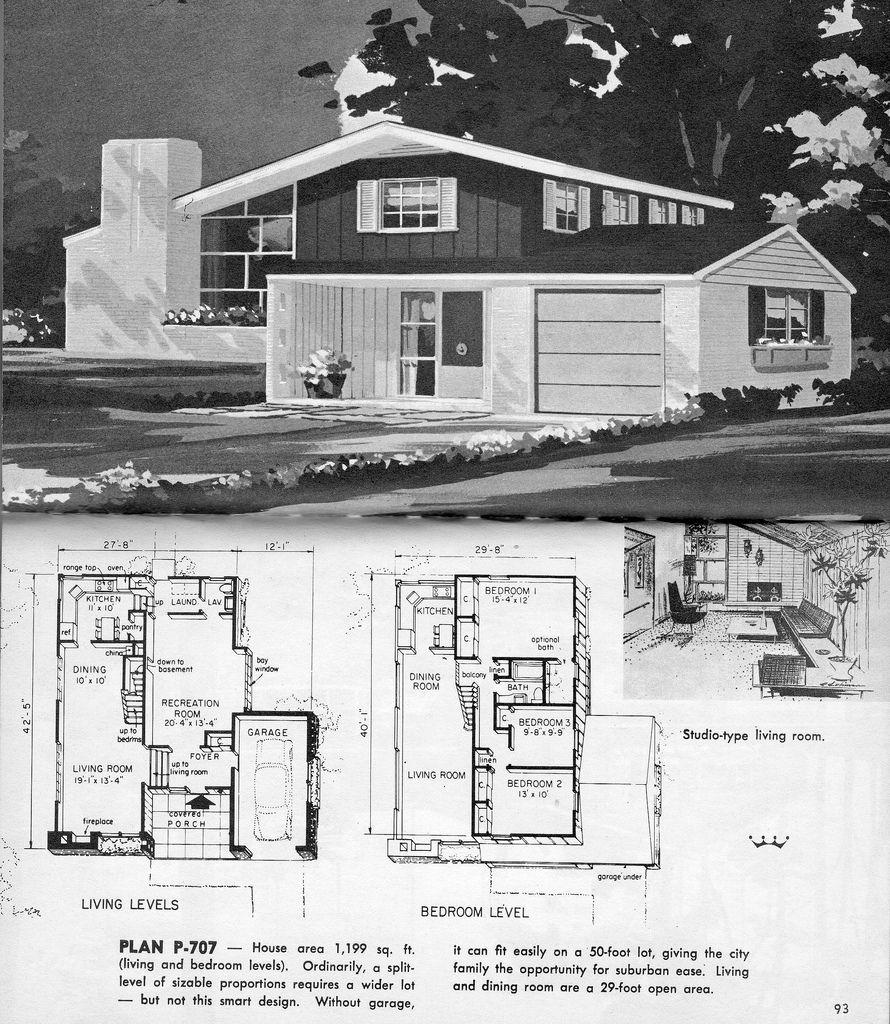 Split Level Plan P 707 Split Level House Plans Modern Floor Plans Vintage House Plans