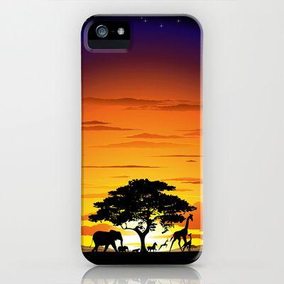 Wild Animals on African Savannah Sunset  iPhone & iPod Case