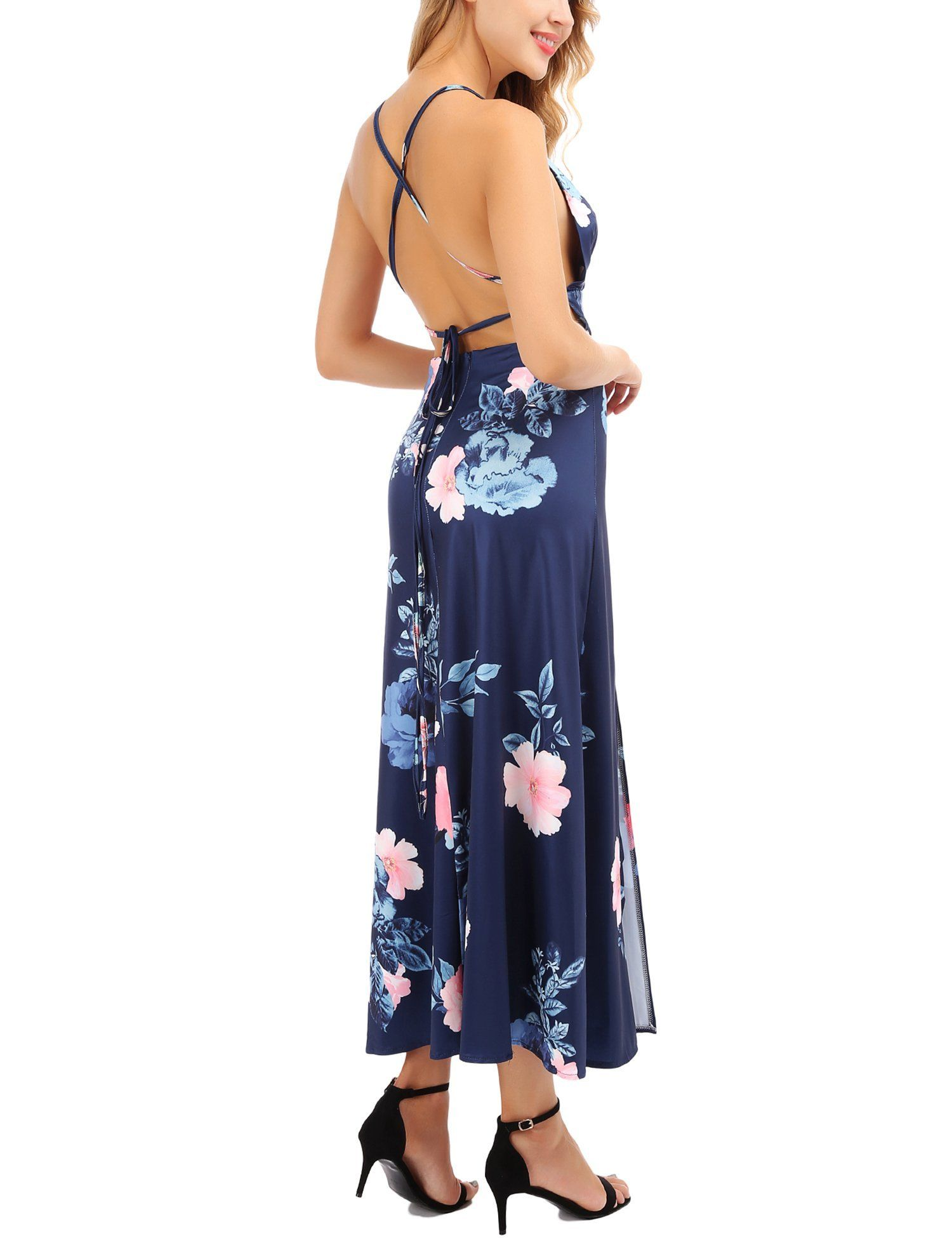 3831ab6366 Womens Sexy Halter Strap Maxi Dress Deep V Neck Backless Floral Print Split  Party Beach Dresses     Click the image for additional details.