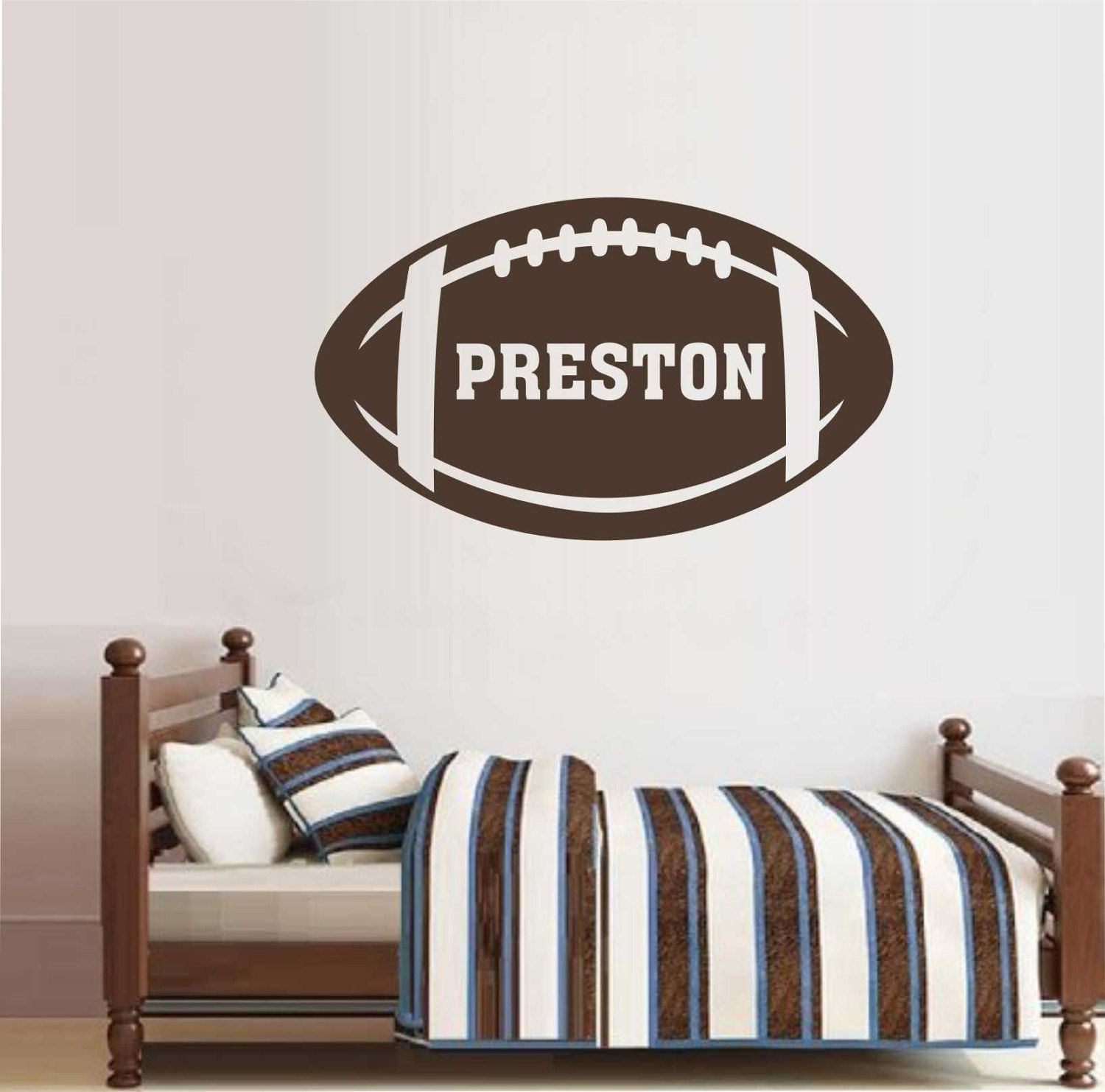 Football Name Decal Custom Football Vinyl Wall Lettering Vinyl Wall Decals Vinyl Decals Vinyl Letters Wall Quotes Sports Decal & Football Name Decal Custom Football Vinyl Wall Lettering Vinyl ...
