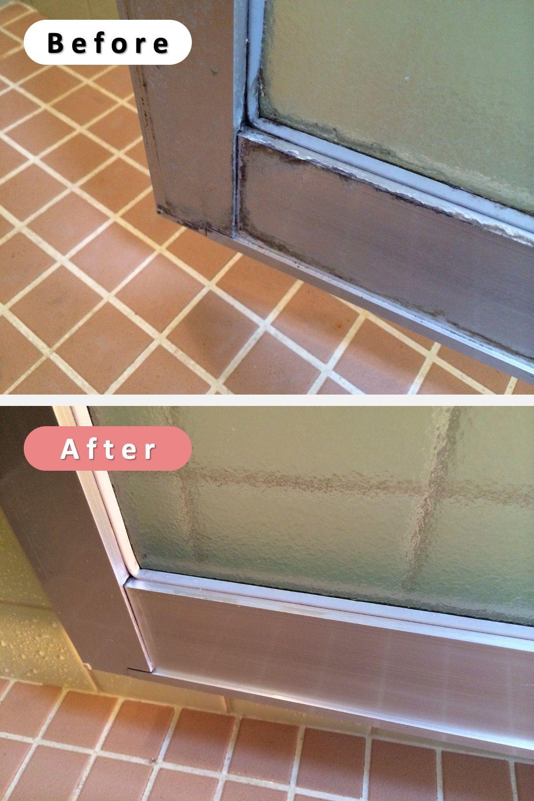 お風呂のドアのアルミサッシや水栓に付いた白い水垢汚れの落とし方 クエン酸でブラッシング掃除が効果的 お風呂 リフォーム Diy 掃除 お掃除の裏技