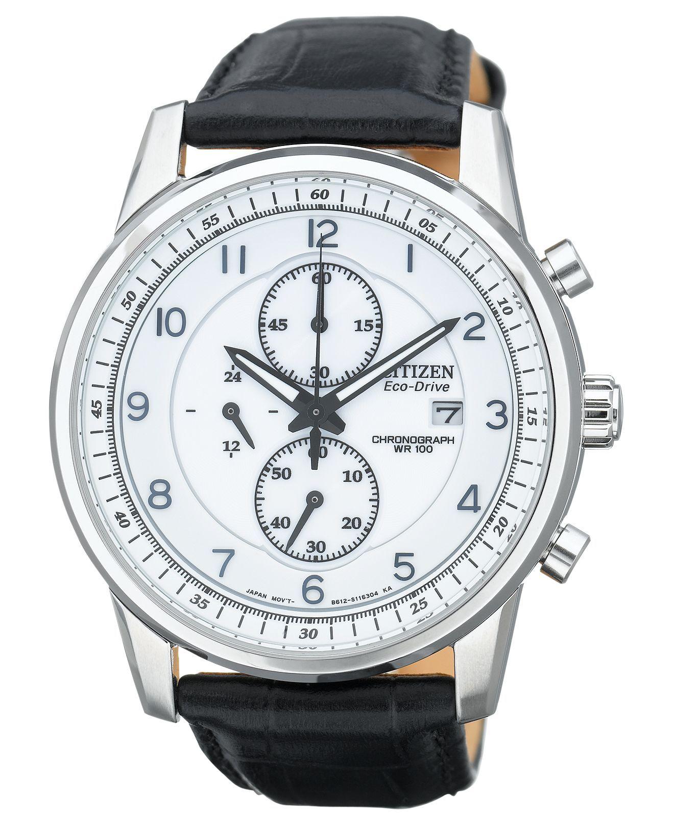 citizen watch men s eco drive chronograph black leather strap citizen watch men s eco drive chronograph black leather strap 42mm ca0331 05a