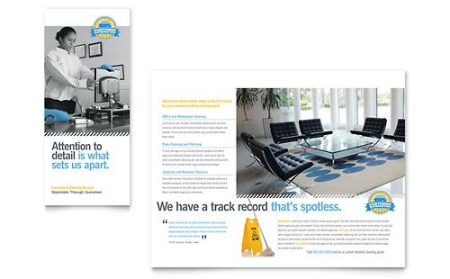 Janitorial \ Office Cleaning Tri Fold Brochure Template Design - cleaning brochure template