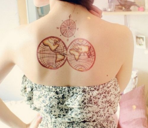 world map tattoo for girls on back