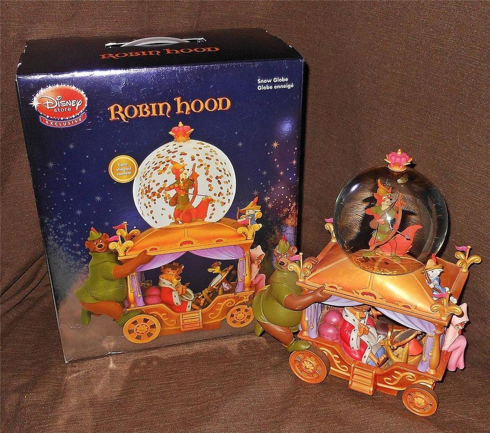 Rare Disney Store Exclusive Robin Hood Snowglobe with Box, Musical, Works