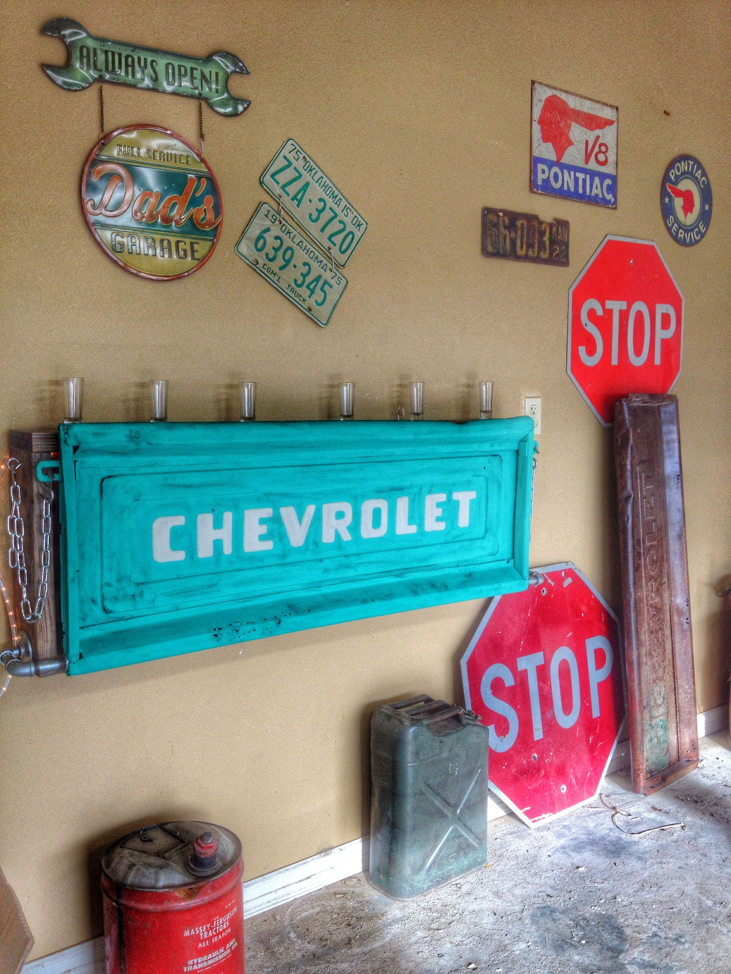 Mini bar made from an old Chevy tailgate  See more of our pieces at