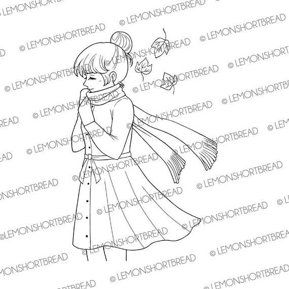 Digital Stamp Chilly Day Girl, Digi Download, Autumn Fall ...